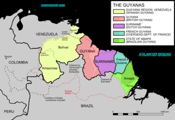 Карта Гвианы