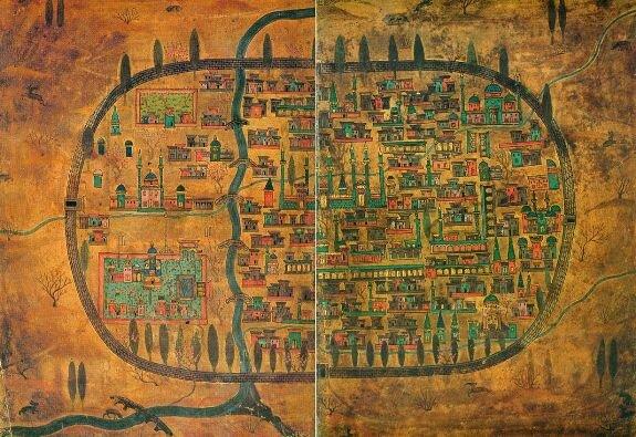 Схематичная карта Тавриза. XVI в. Работа Матракчи Насуха