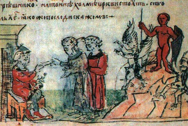 Князь Владимир I в 980 году отдает распоряжения у идола Перуна (миниатюра №111 из Радзивилловой летописи, конец XV столетия)