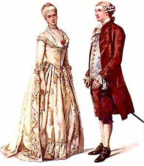 женский и мужской костюм 18 века
