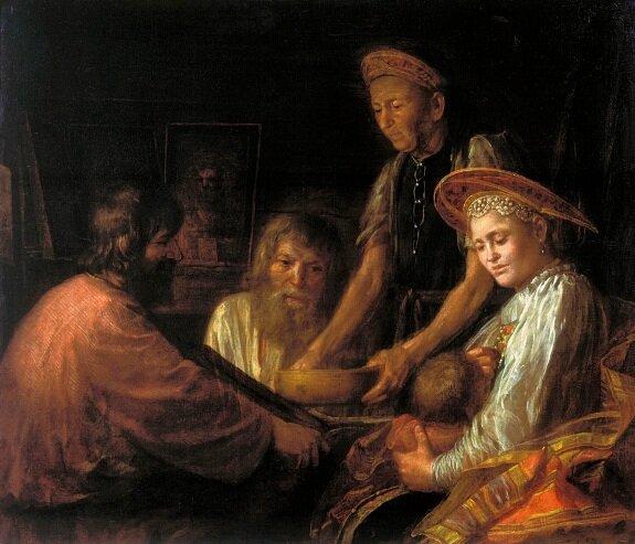 Крестьянский обед. Худ. М. Шибанов, 1774 г. Государственная Третьяковская галерея, Москва
