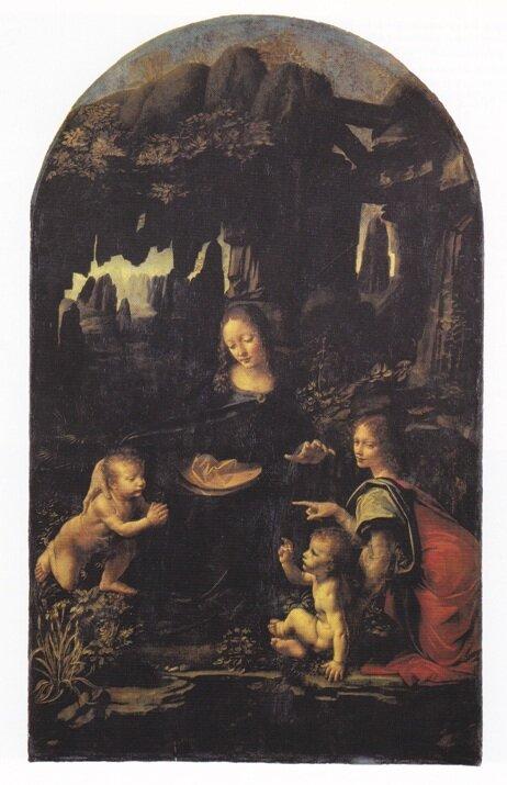Л. да Винчи Мадонна в скалах (Дева Мария с младенцем Иисусом, младенцем Николаем Крестителем и ангелом), 1483-1486 гг., Лувр, Париж, Франция