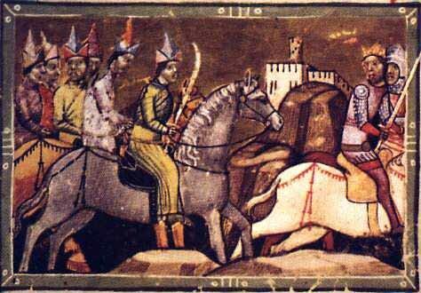 Монголы преследуют короля венгров Белу IV. Венгерская иллюстрированная хроника Chronicon Pictum, 1358 г.