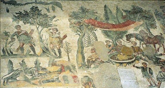 мозаика пикник после охоты