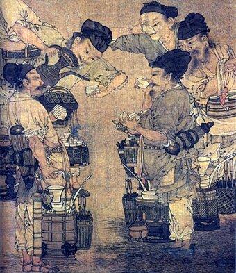 Торговля на чайном рынке. Фрагмент рисунка Ли Сонгниан, 1190 г.