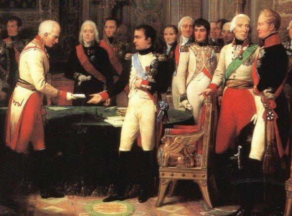 Наполеон и Александр 1 в Эрфурте. Гравюра Ш. Монне, 1808 г., Замок Мальмезон, Франция