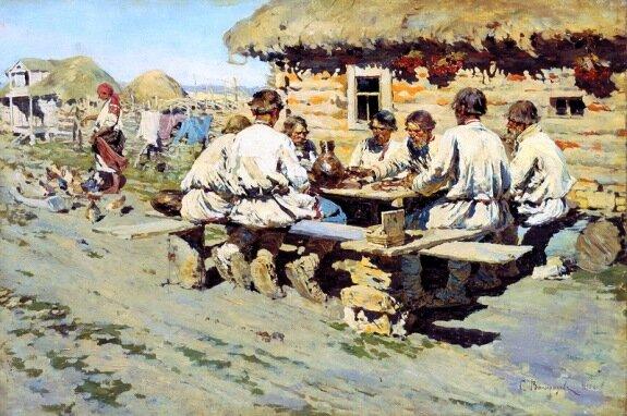 Худ. С. Виноградов. «Обед работников». 1890 г., Третьяковская галерея, Москва