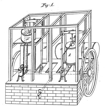 Охлаждающая машина Горри удивительна похожа на современный передвижной дизельный компрессор. Рисунок из архива патентов США, 6 мая 1851 г.