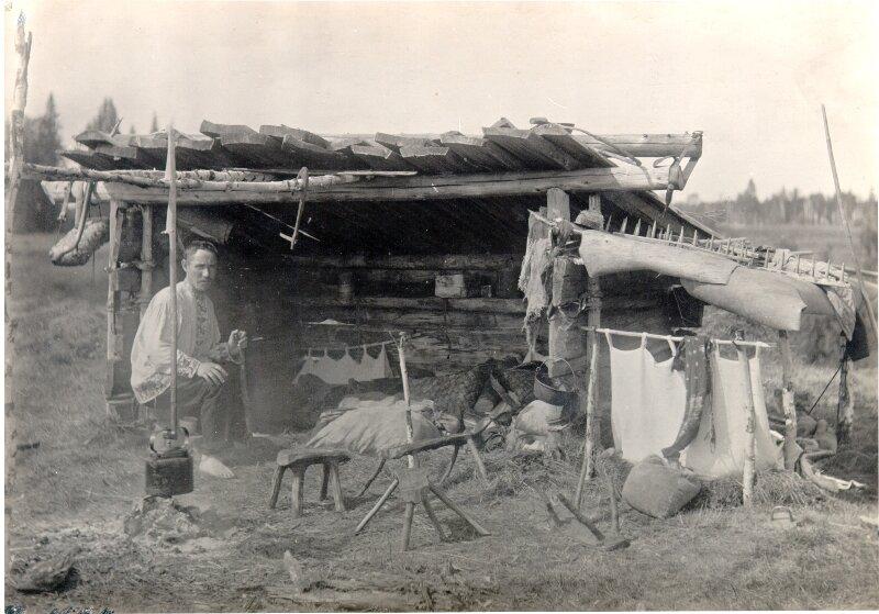 Керчом. Верхневычегодские коми. Охотничья стоянка. Фото 1906 г.