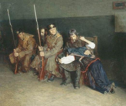 "Худ. Н. Касаткин. ""В коридоре окружного суда"", 1897"