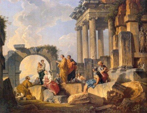 Худ. Д. Паннини Развалины со сценой проповеди апостола Павла. 1744