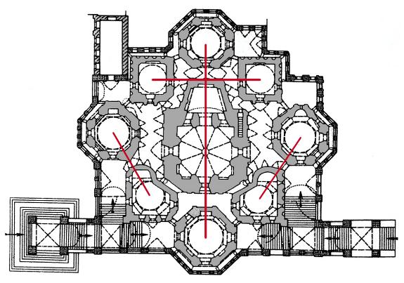 План собор Покрова Богородицы и смысловые связи его церквей