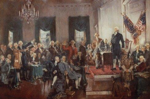 Сцена подписания Конституции США, худ. Г. Кристи, 1940 г., Палата предстваителей США, Вашингтон