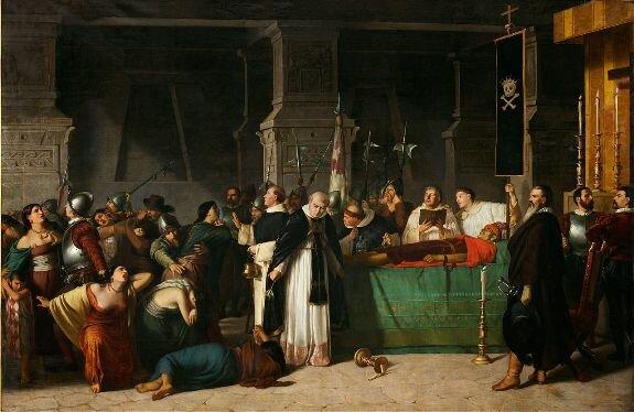 Похороны Атауальпы, 29 августа 1533 года. Худ. Л. Монтеро, 1867, Музей искусства Лимы, Перу