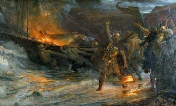 Похороны викинга. Худ. Ф. Дикси, 1893 г., Манчестерская картинная галерея, Манчестер, Великобритания