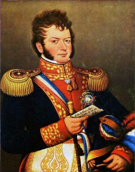 Портрет Бернардо О`Хиггинса, держащего чилийскую конституцию