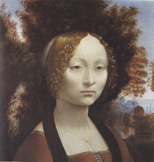 Л. да Винчи. Портрет Джиневры ди Бенчи, ок. 1478-1480 гг., Национальная галерея, Вашингтон, США