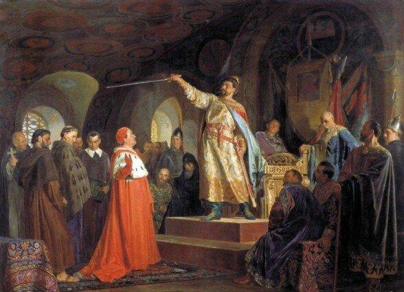 Худ. Неврев Н. В. Роман Галицкий принимает послов папы Иннокентия III, 1875 г.
