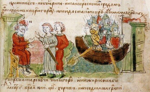 Призвание варягов. Миниатюра в Радзивилловской летописи. XV в.