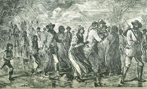 Двадцать восем беглых рабов покидают восточное побережье Мэрилэнда. Гравюра У. Стилла, ок. 1850 г. Библиотека Виргинского университета