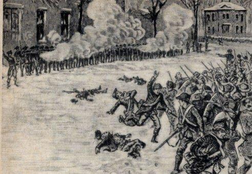 Расстрел повстанцев Д. Шейса у арсенала в Спрингфилде в январе 1787 г. Гравюра XVIII в.