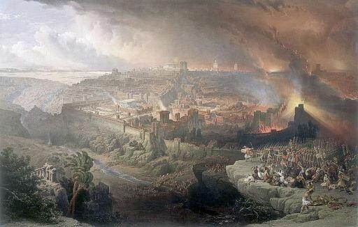 Худ. Д. Робертс Осада и разрушение Иерусалима римлянами под командованием Тита, 1850 г.