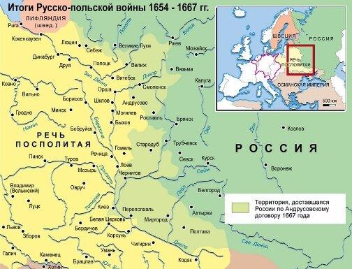 Результаты русско-польской войны 1654-1667 г. г.