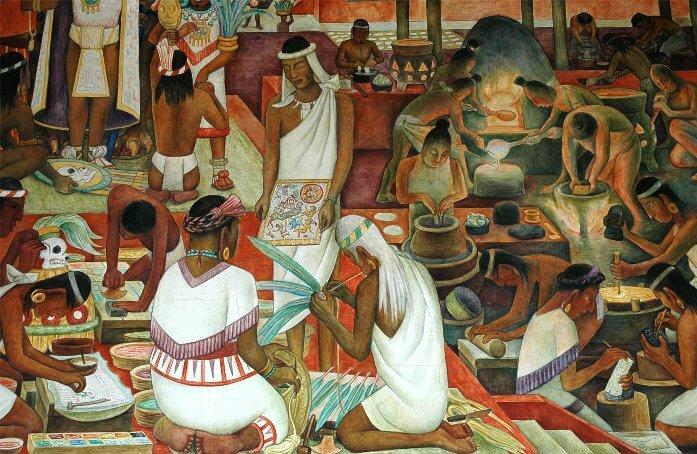 Худ. Диего Ривера. Рынок ацтеков в Тлателолько, фреска в Национальном дворце Мехико, 1945 г.