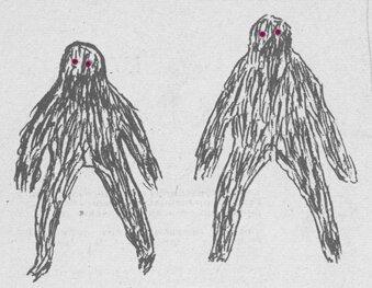 Рисунки гоминоида, сделанные очевидцами из Югорского края
