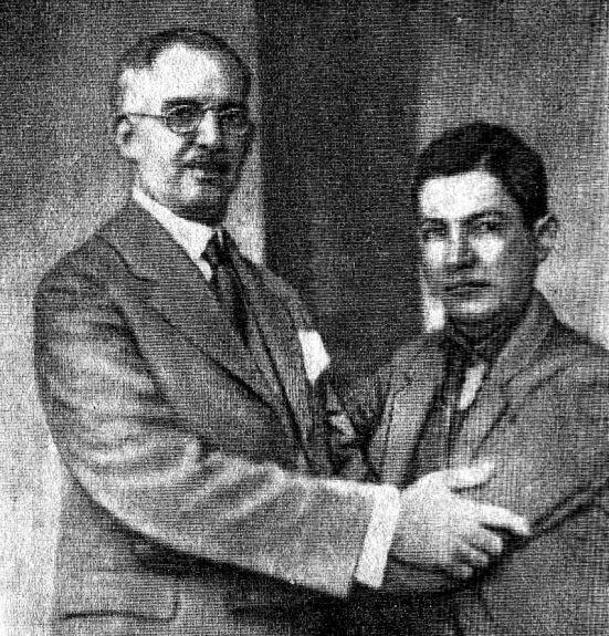 Президент Х. Б. Сакаса (слева) и генерал А. С. Сандино позируют перед фотографами 2 февраля 1934 г.