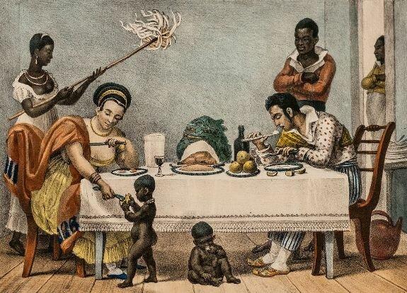 Семейный ужин в Бразилии. Иллюстрация Ж.-Б. Дебре, литография 1829 г.
