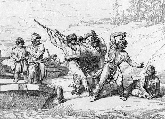 Смерть Аскольда и Дира. Гравюра Ф. А. Бруни, 1839