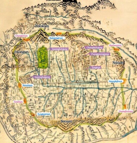 Карта Сеула 1576 г. На плане нанесены названия городских ворот