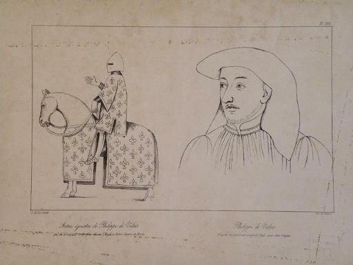 Эскиз конной статуи Филиппу Красивому в Нотр-Даме, из кн. R. Gane Le Chapitre de Notre-Dame de Paris au XIVe siècle: étude sociale d'un groupe canonial.