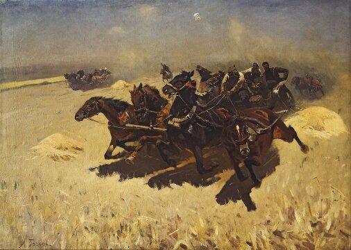 Греков (Мартыщенко) М. Б. Тачанка, 1925, Холст, масло, Третьяковская галерея, Москва