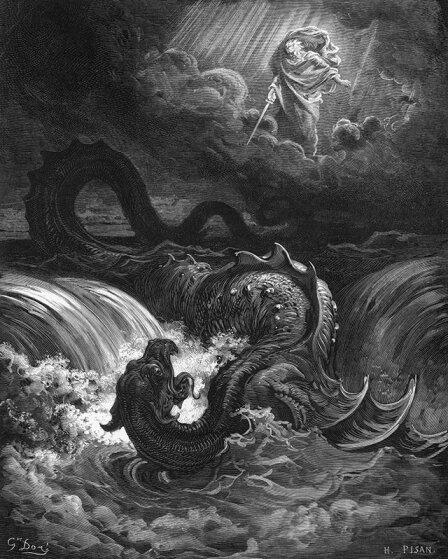 Убийство Левиафана. Гравюра. Гюстава Доре, 1865 г.