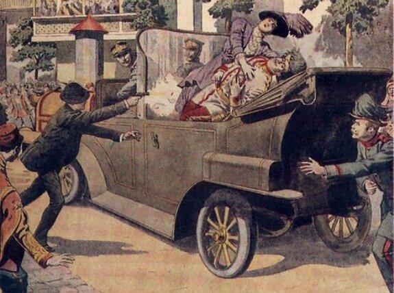 Гаврило Принцип убивает эрцгерцога Франца Фердинанда. Иллюстрация из австрийской газеты. 1914 г.