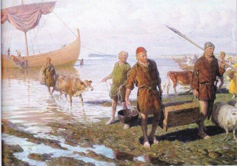 Викинги высадились в Ньфаундленде. Акварель XIX века