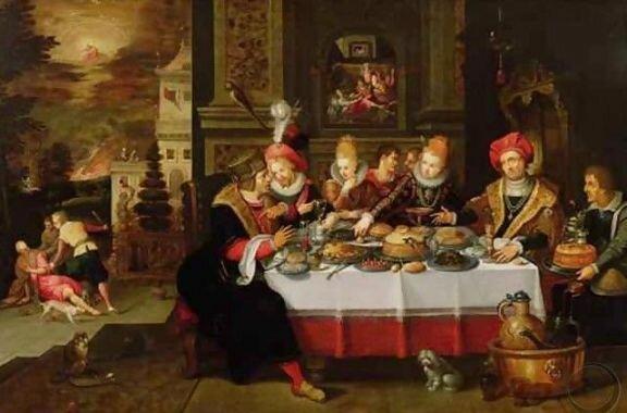 Гаспар ван ден Хоек (1595-1648) Лазарь за столом у богача. Галерея Джонни ван Хафтена, Лондон, Великобритания