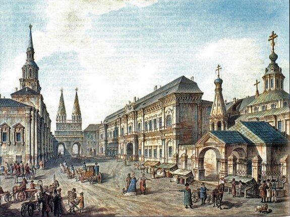 Здание Московского университета (слева) у Воскресенских ворот на Красной площади. Гравюра Ф. Я. Алексеева, 1802 г.