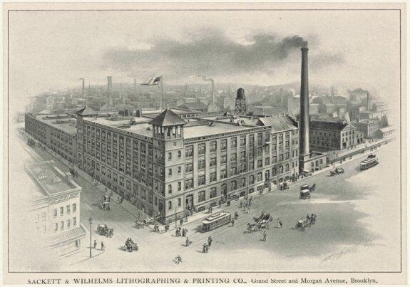 Здание типографии Сакетт-Вильгельмс в Нью-Йорке на Морган-авеню. 1903 г. Рисунок из архива Публичной библиотеки Нью-Йорка